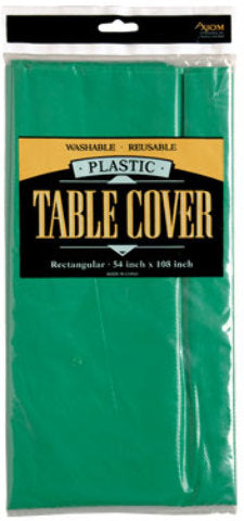 Rectangle Plastic Table Cover - Green - CASE OF 24