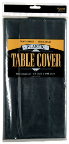 Round Plastic Table Cover - Black - CASE OF 24