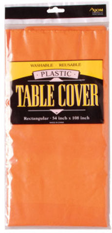 Rectangle Plastic Table Cover - Orange - CASE OF 24