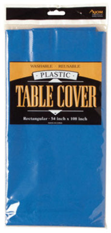 Rectangle Plastic Table Cover - Blue - CASE OF 24
