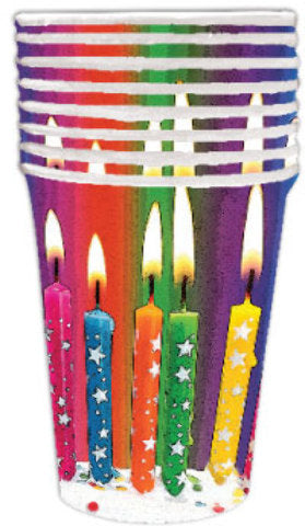 Birthday Bright Candle 9 oz. Cup - 8 count - CASE OF 24