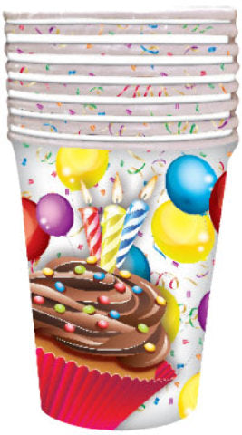 Birthday Cupcake 9 oz. Cup - 8 count - CASE OF 24