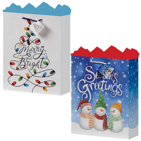 Large Gift Bag - Christmas Cheer 2 Asst - CASE OF 24