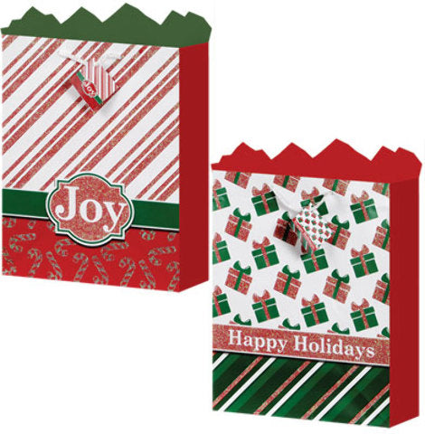 Large Gift Bag - Holiday Tradition 2 Assorted - CASE OF 24
