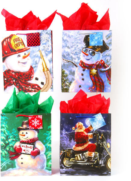 Large Snow Friends On Matte Gift Bag - CASE OF 24