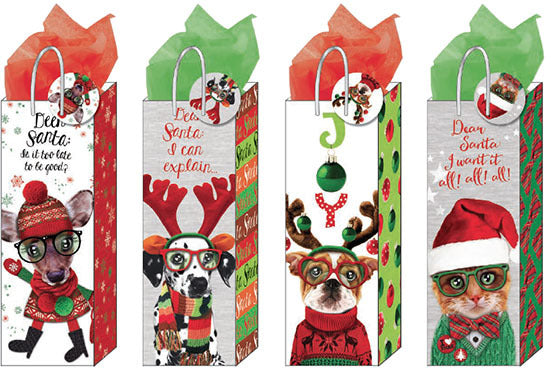 Large Furry Christmas Pals Matte Gift Bag - CASE OF 24