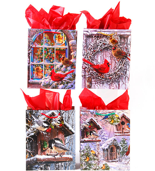 Large Christmas Cardinals Matte Gift Bag - CASE OF 24