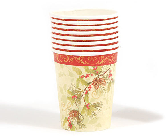 Pinecone and Holly Printed Cups - CASE OF 36