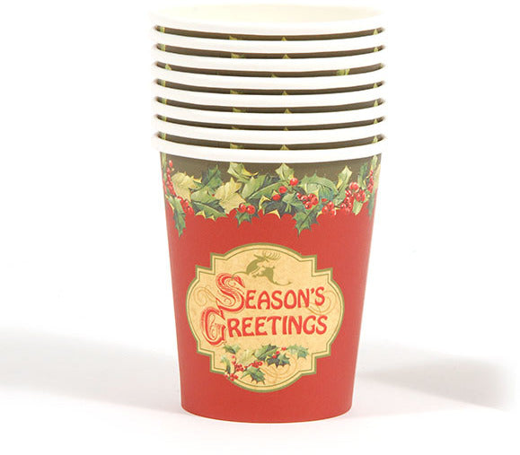 Season's Greetings Printed Cups - CASE OF 36