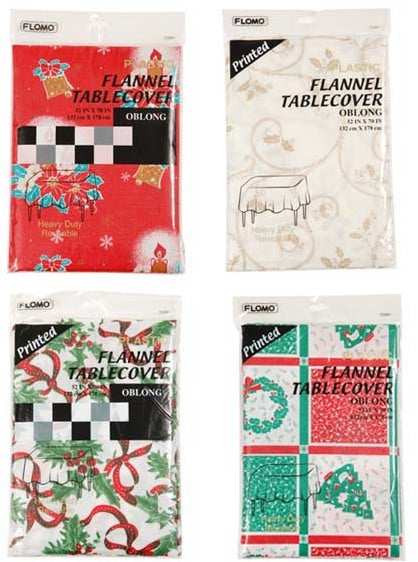 Oblong Christmas Flannel Table Cover - Assorted - CASE OF 36