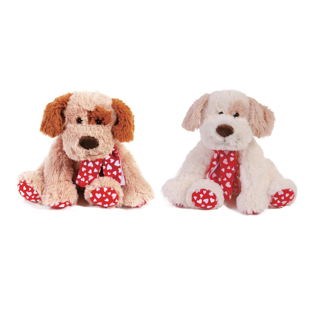 """Forget Me Not"" Sitting Valentine Dog with Red Ribbon Scarf - CASE OF 12"