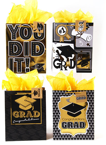 Graduation with Hot Stamping Gift Bags - Large - CASE OF 120