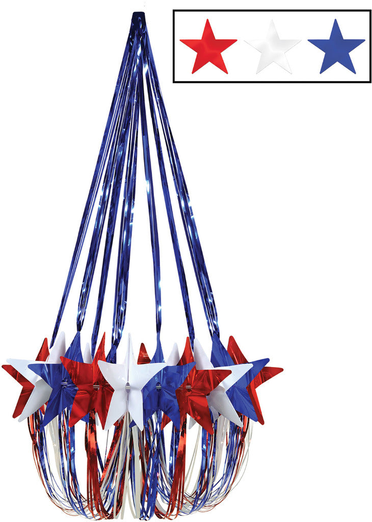 Star Chandelier - Red, White, Blue - CASE OF 6