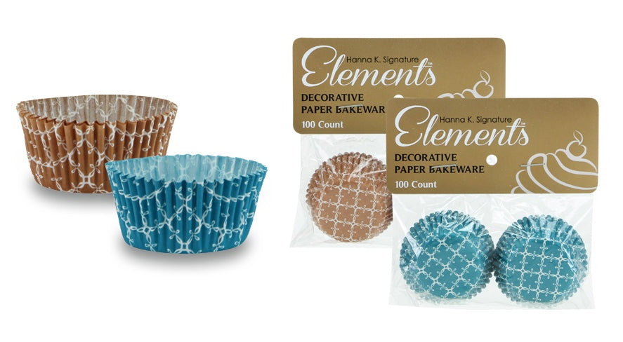 "1.25"" Mini Baking Cups - Teal-Caramel - 100-Packs - Hanna K. Signature Elements - CASE OF 24"