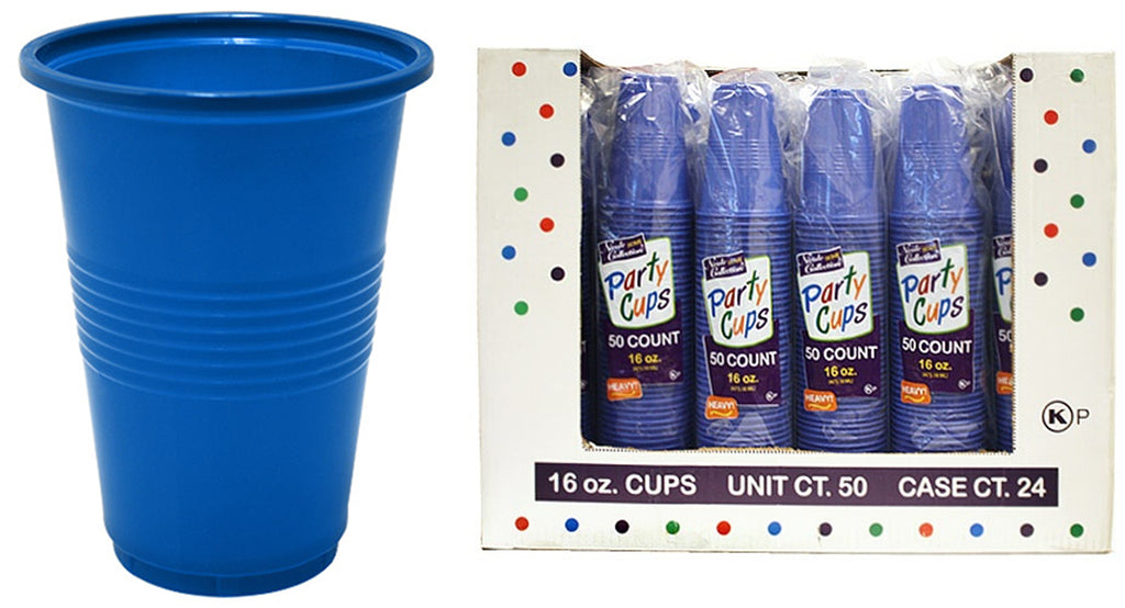 16 oz. Blue Plastic Cup 50-Packs - Nicole Home Collection - CASE OF 24