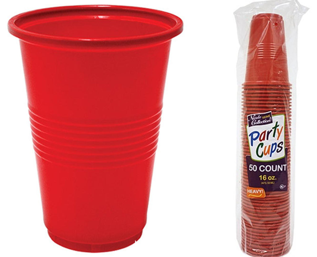 16 oz. Red Plastic Cup 50-Packs - Nicole Home Collection - CASE OF 24