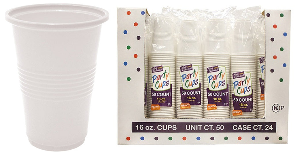 16 oz. White Plastic Cup 50-Packs - Nicole Home Collection - CASE OF 24