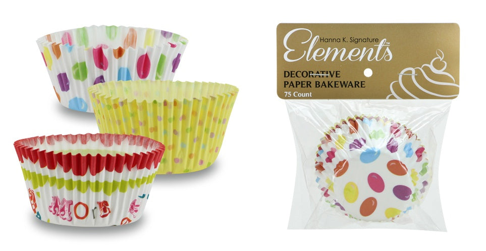 "2"" Baking Cups - 3 Assorted Prints - 75-Packs - Hanna K. Signature Elements - CASE OF 24"