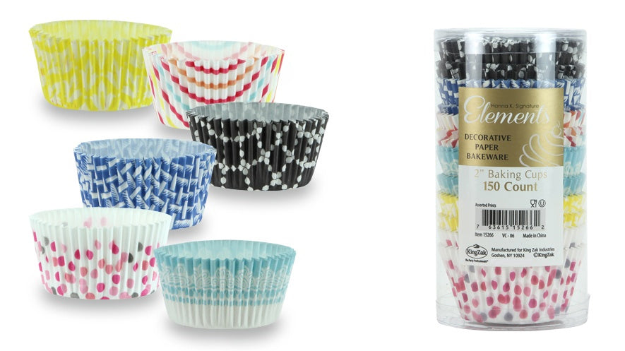 "2"" Baking Cups - 6 Assorted Prints - 150-Packs - Hanna K. Signature Elements - CASE OF 24"