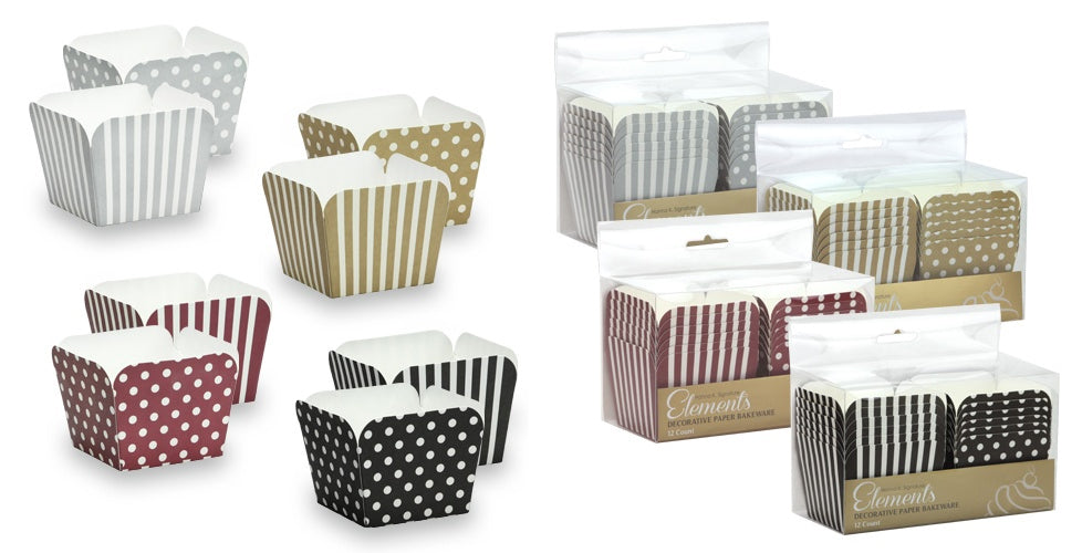 "2"" Square Baking Cups - Assorted Colors - 12-Packs - Hanna K. Signature Elements - CASE OF 36"