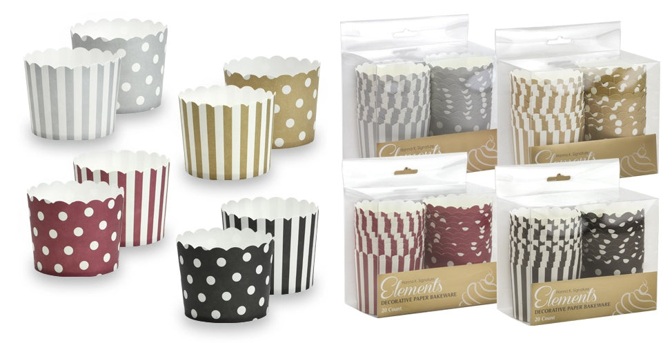 "2.25"" Round Baking Cups - Assorted Colors- 20-Packs - Hanna K. Signature Elements - CASE OF 36"