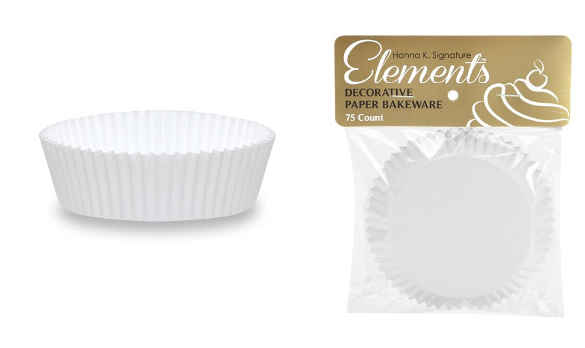 "3"" Self-Standing Baking Cups - White - 75-Packs - Hanna K. Signature Elements - CASE OF 24"