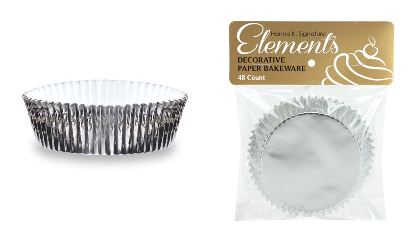 "3"" Self-Standing Foil Baking Cups - Silver - 48-Packs - Hanna K. Signature Elements - CASE OF 24"