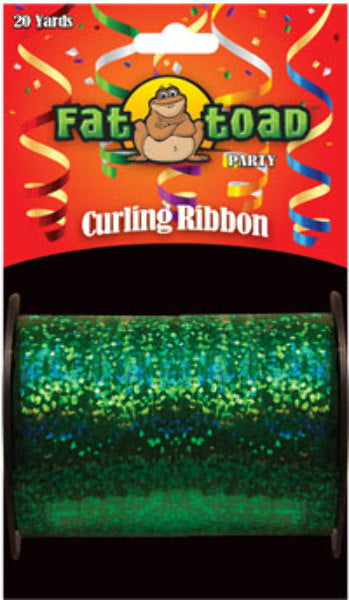 Fat Toad Curling Ribbon Green Sparkle - 20 yards - CASE OF 24