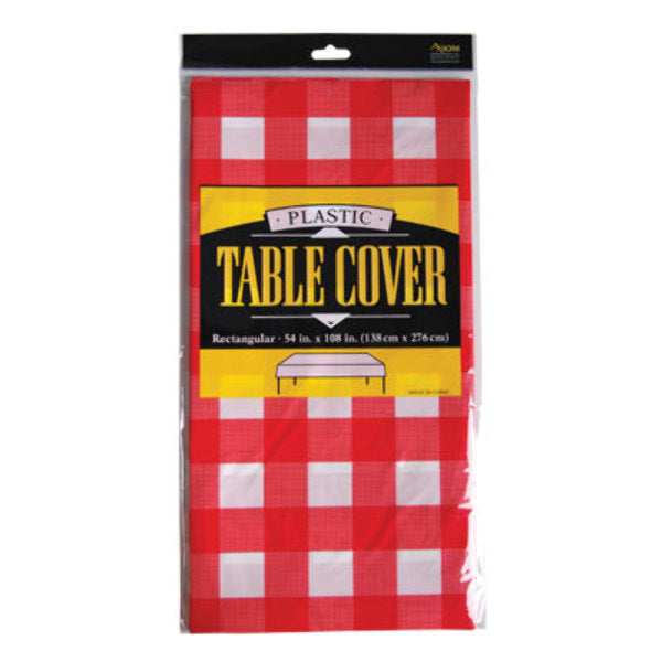 "Fat Toad Red Checkered Printed Table Cover 54""x108 - CASE OF 24"