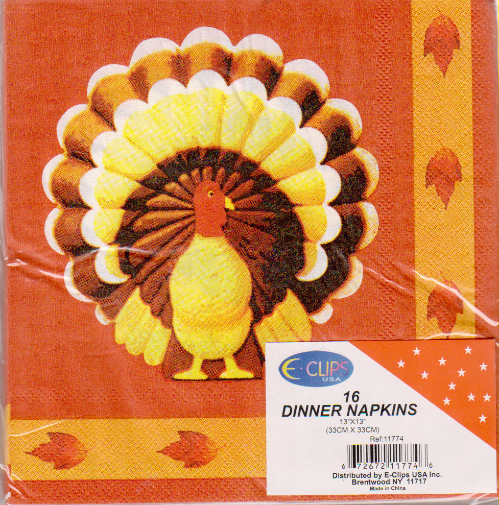 Turkey Dinner Napkins - 16 Count - CASE OF 60