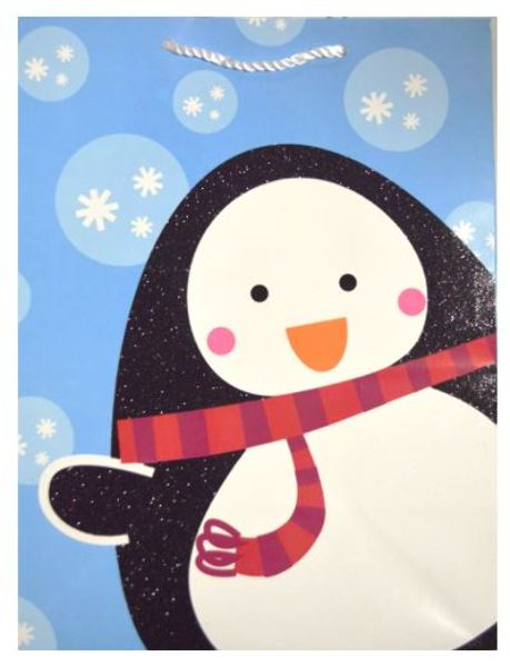 Large Penguin w Snowflakes Christmas Gift Bag - CASE OF 24
