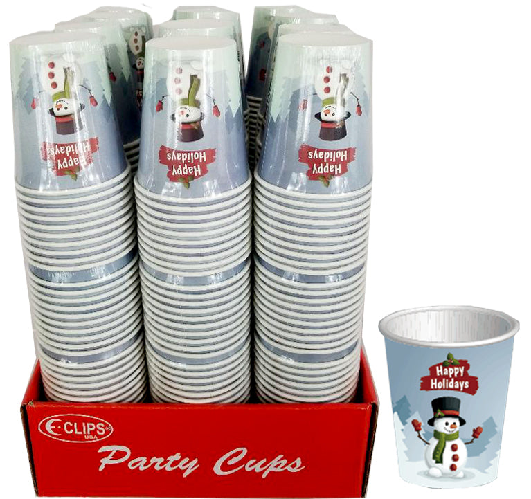 Snowman designs Paper cups - CASE OF 48