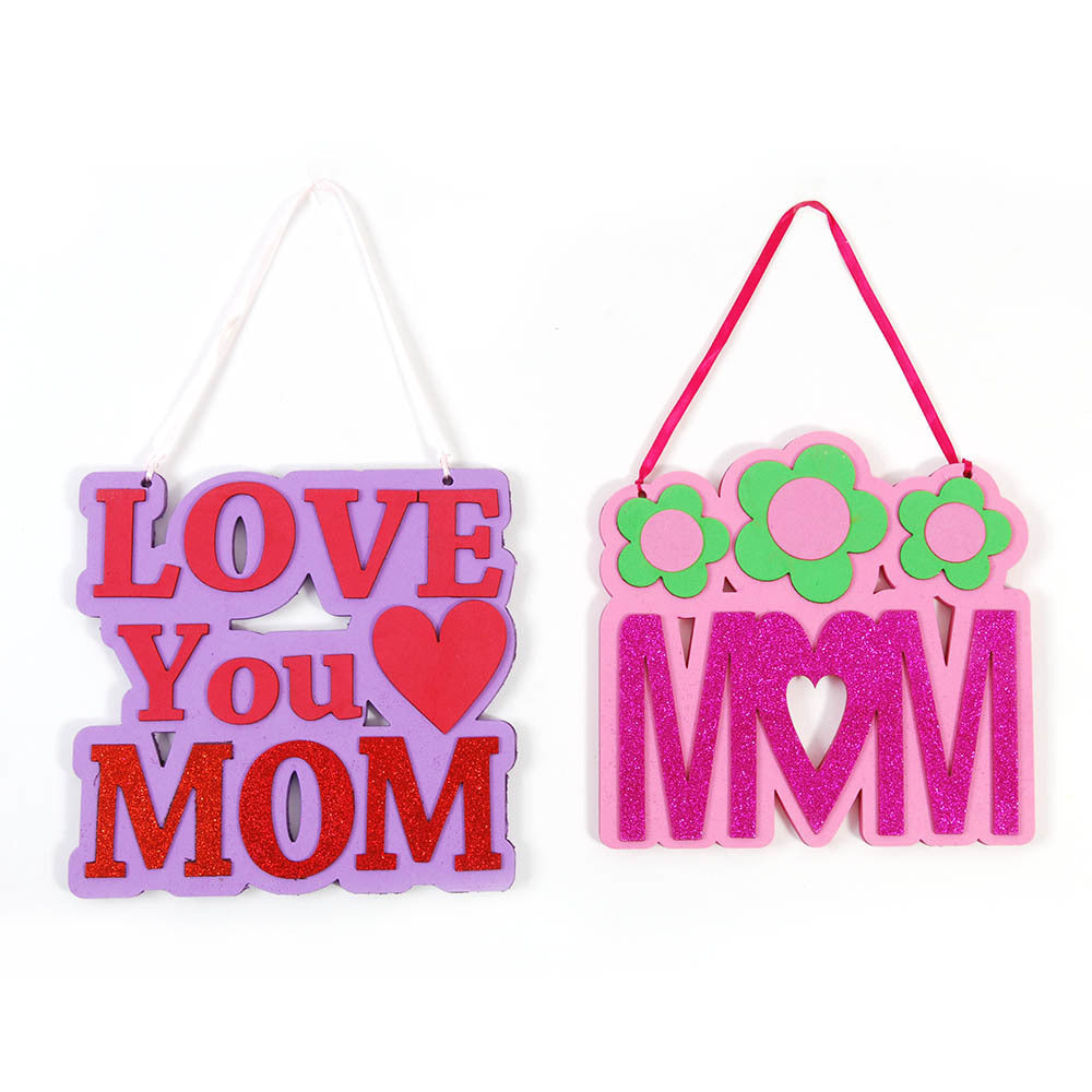 Mom Hanging Sign With Glitter for Mother's Day - CASE OF 48