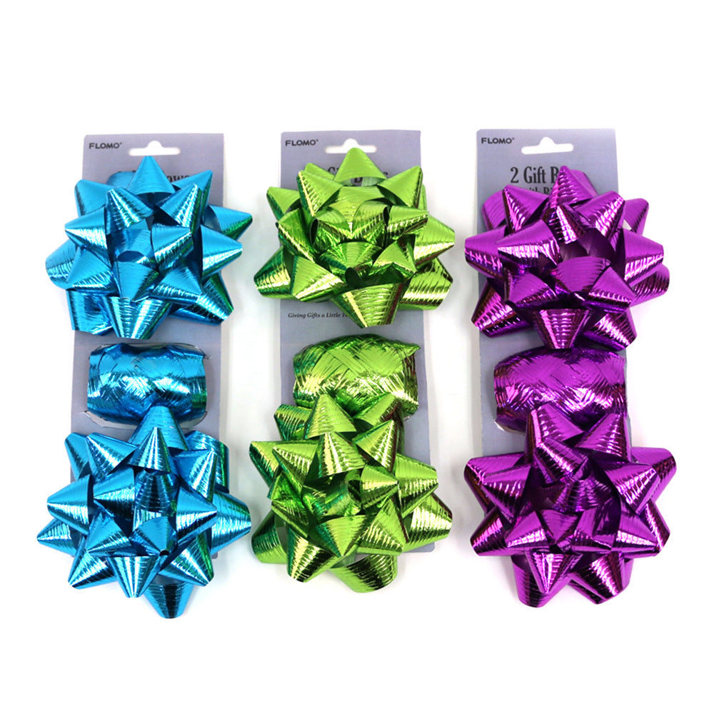 "Bright Embossed Gift Wrapping Set includes two 2.4"" Gift Bows and Matching Curling Ribbon - CASE OF 48"