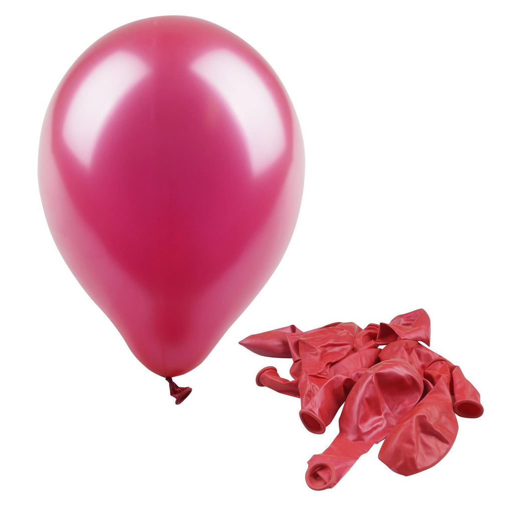 "Hot Pink 12"" Metallic Balloon - 10 Count - CASE OF 48"