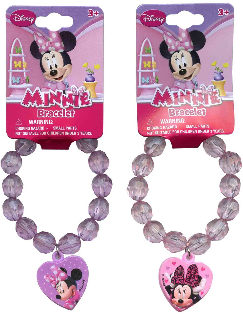 Minnie Beaded Bracelet with Plastic Charm - Assorted - CASE OF 288