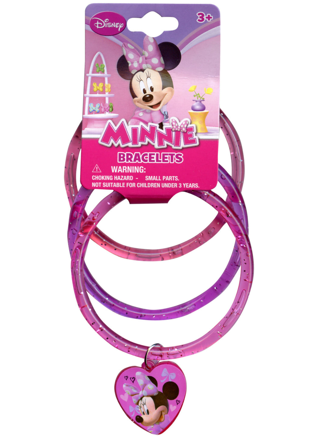 Minnie Glitter Bangles with Plastic Charm - CASE OF 288