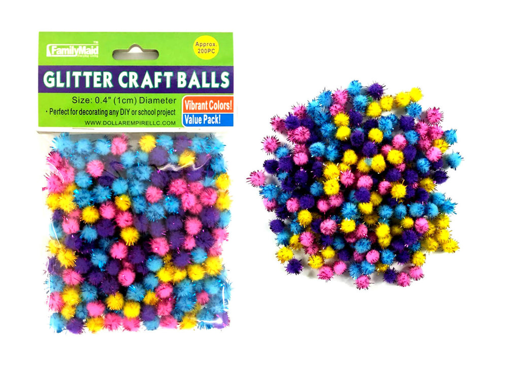 Small Craft Balls With Glitter - 200 Count - CASE OF 48