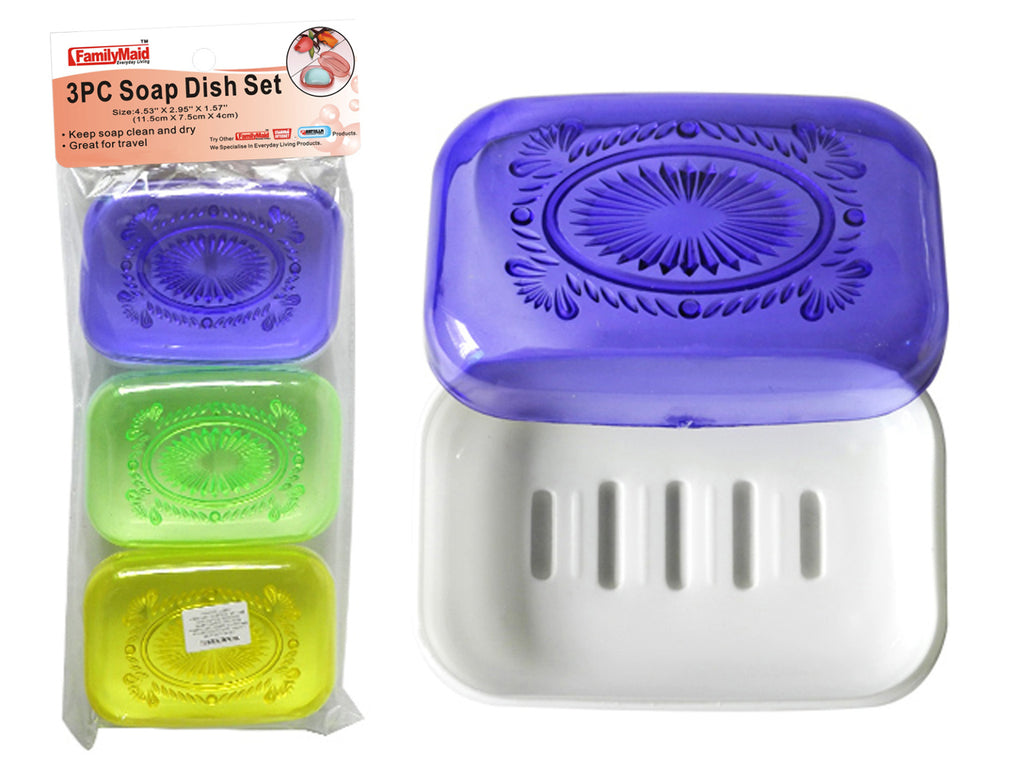3 Piece Soap Case Holder - Assorted Colors - CASE OF 48