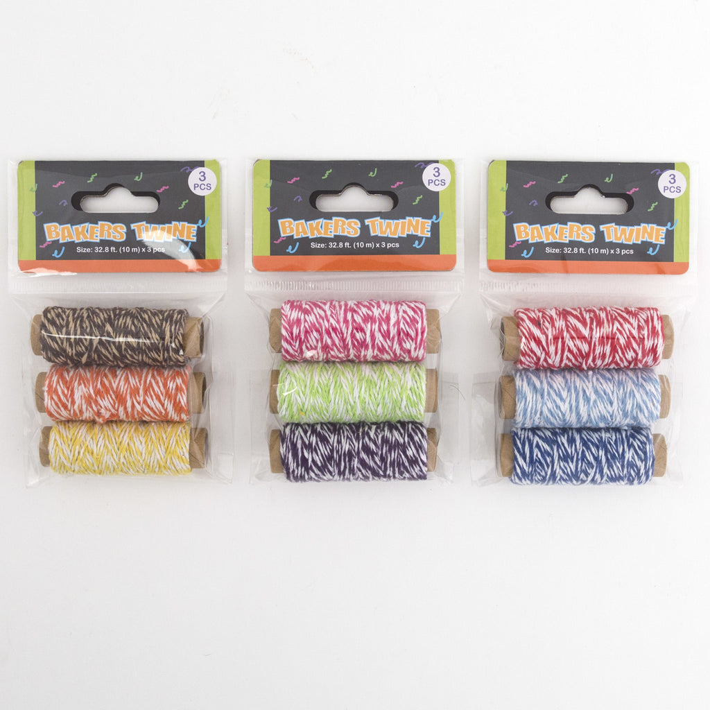 3 Piece Bakers Twine in Assorted Colors - CASE OF 72