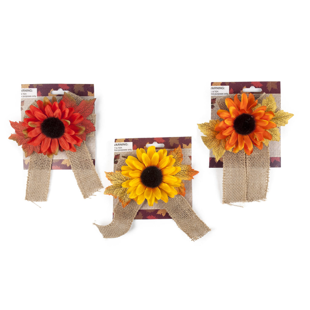 Scarecrow Burlap Bow Sunflower Clip - Assorted Colors - CASE OF 24