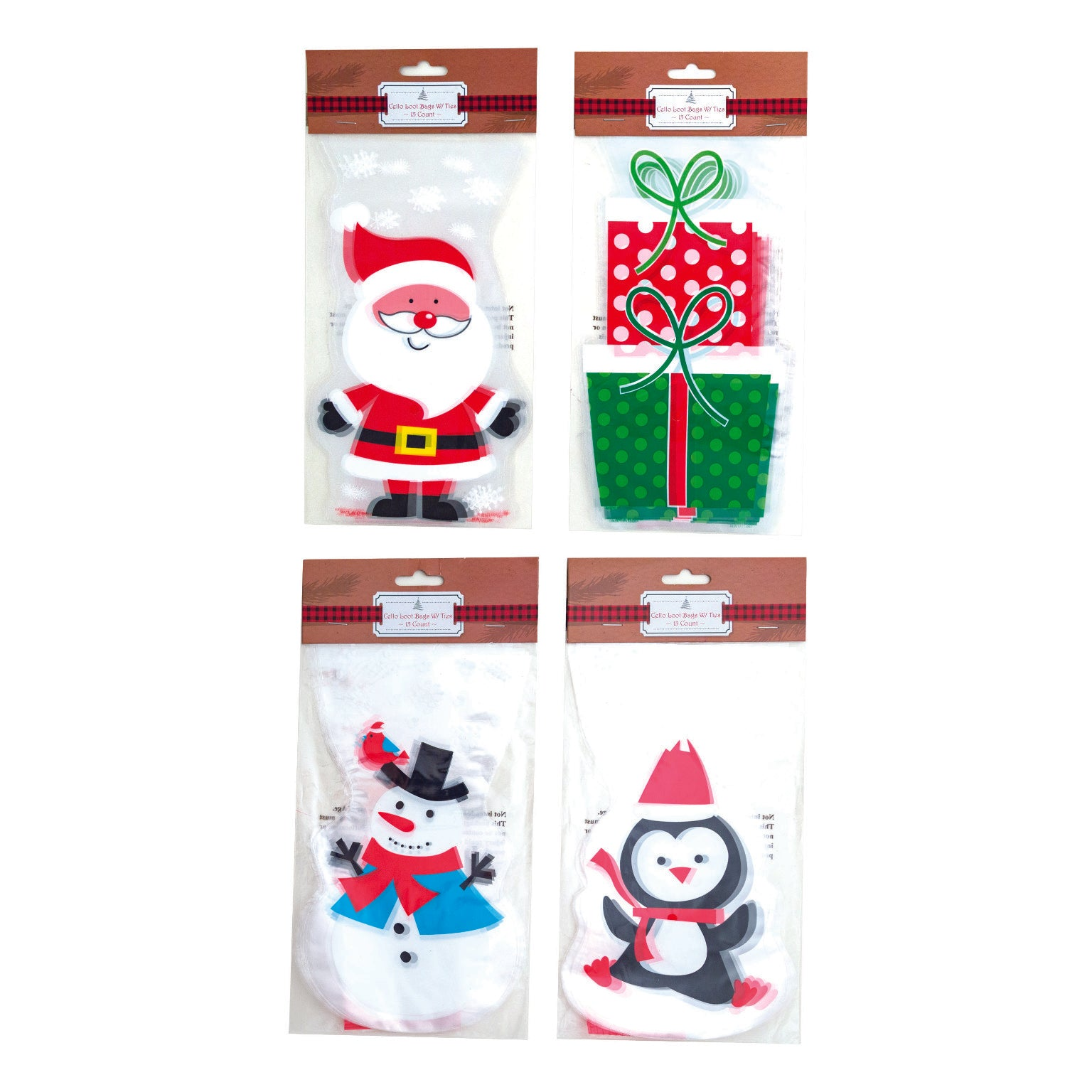15 Count Christmas Loot Bags - Assorted Prints - CASE OF 96