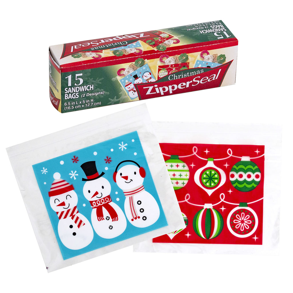 15 Count Zipper Sandwich Bags - Christmas Prints - CASE OF 48
