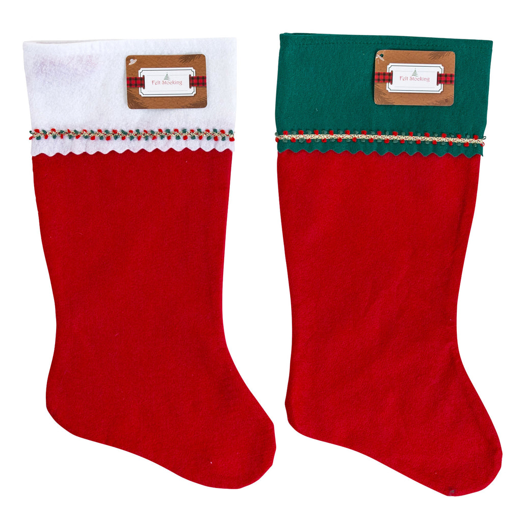 "19"" Felt Stocking with Braided Trim - Assorted - CASE OF 36"