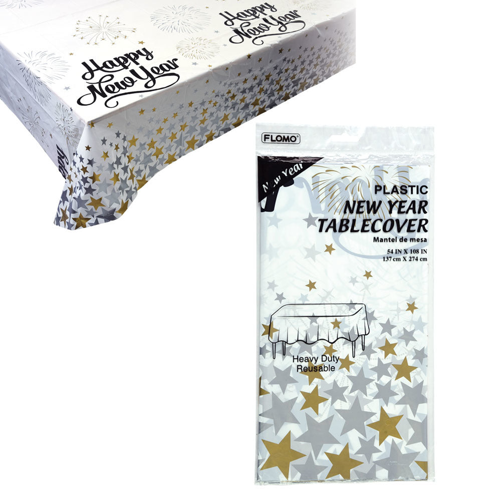 """Happy New Year"" Heavy Duty Table Cover - 54"" x 108"" - CASE OF 36"