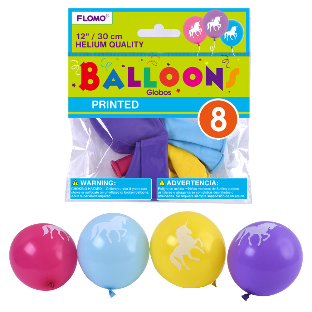 "12"" Helium Quality Unicorn Printed Balloons - 8 Pack - Assorted Colors - CASE OF 36"