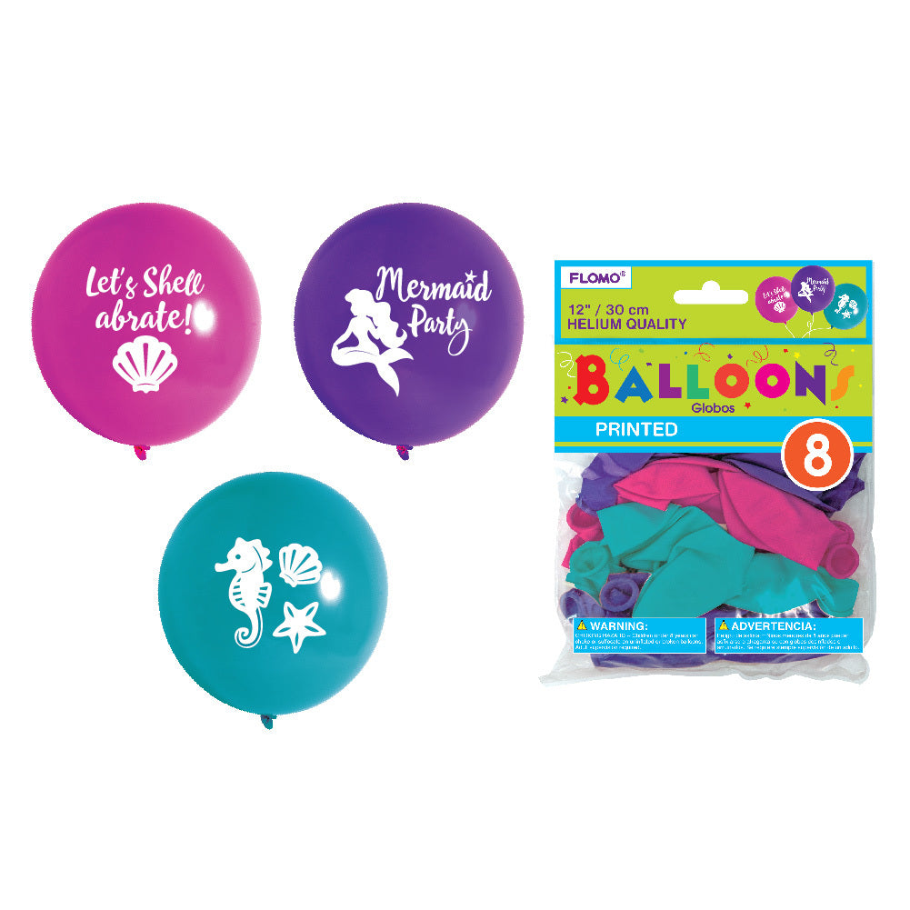 "12"" Helium Quality Mermaid Printed Balloons - 8 Pack - Assorted Colors - CASE OF 36"
