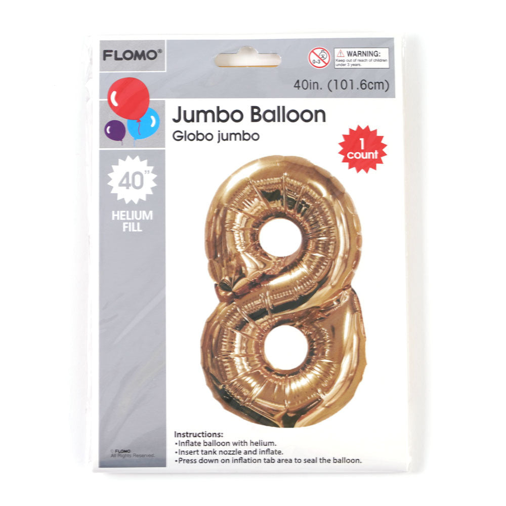 "Metallic Gold Mylar Balloon - #8 - 40"" - 36 Pieces - CASE OF 36"