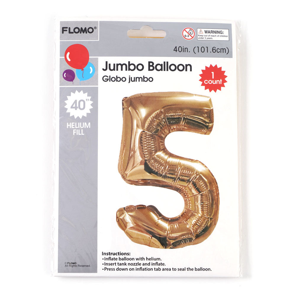 "Metallic Gold Mylar Balloon - #5 - 40"" - 36 Pieces - CASE OF 36"