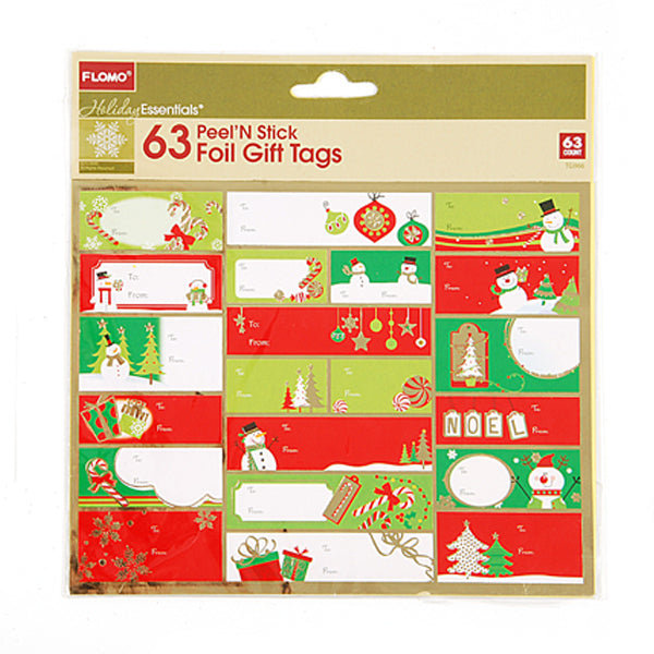 Christmas Foil Peel N' Stick Gift Tags - 63 Count - CASE OF 72